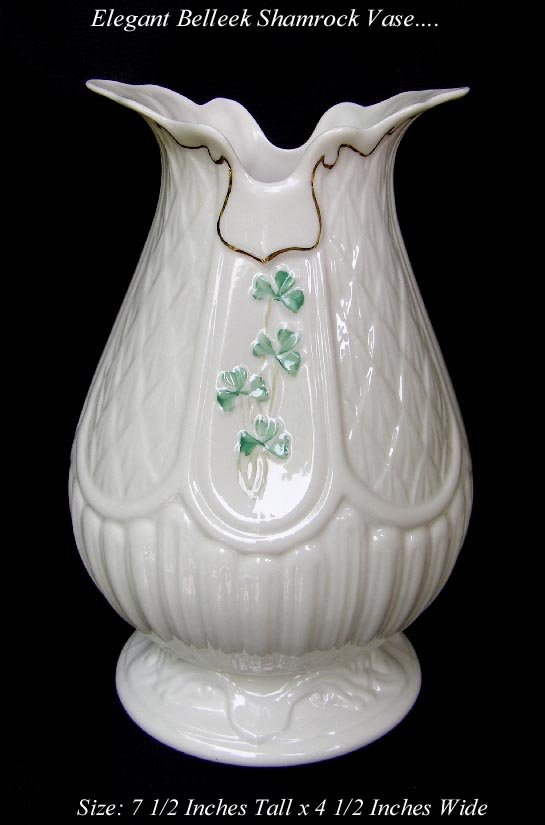 ELEGANT LARGE BELLEEK PORCELAIN SHAMROCK VASE