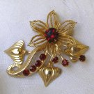 Vintage Ruby Red Rhinestone Brooch
