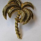 Vintage Spain Damasquinado Palm Tree Brooch Pin