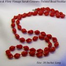 "FUN FLIRTY RED TWIST BEAD SARAH COVENTRY 36"" NECKLACE"