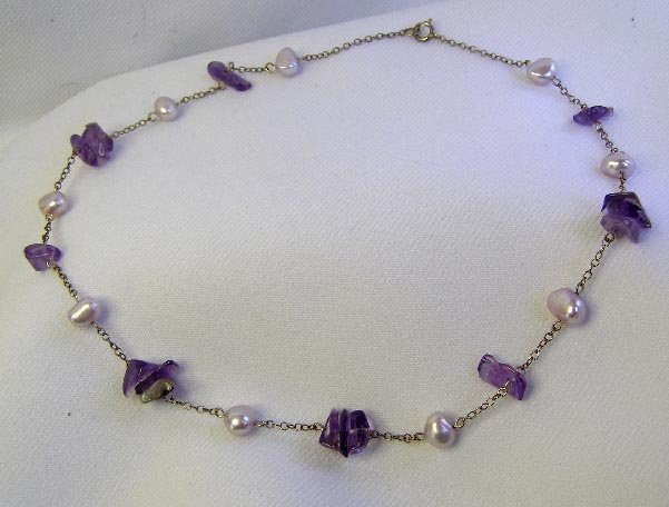Sterling Silver Amethyst Glass & Stone Choker Necklace