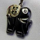 Silver South Asia Hematite Elephant Pendant Necklace