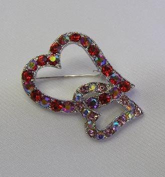 Red & Pink Rhinestones Interlocking Hearts Brooch