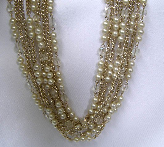 Vintage 5 Strand Faux Pearl, AB Bead Goldtone Necklace