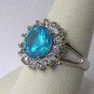 Faux Blue Topaz Solataire CZ Boutique Costume Ring Sz 8