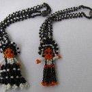 2 Vintage Mexican Boy & Girl Beaded Figurine Bracelets