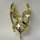 SWEET VINTAGE GOOD LUCK WISHBONE CLOVER & PEARL PIN