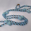 Vintage Flapper Length Blue Bead Necklace 50 Inches