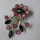 Vintage Black & Pink Rhinestone Brooch