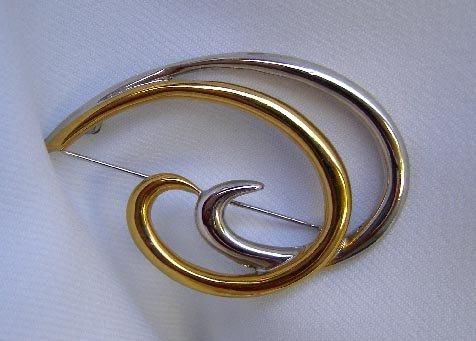 Vintage Monet Goldtone & Silvertone Modernist Brooch