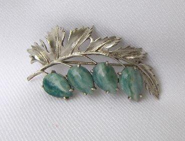 Vintage Sterling Silver & Green Agate Leaf Brooch