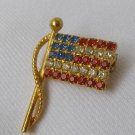 Vintage Red White Blue Rhinestone American Flag Brooch