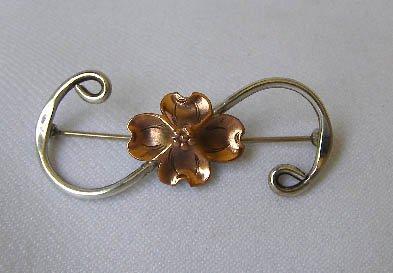 Vintage Nye Silver & Copper Dogwood Flower Brooch