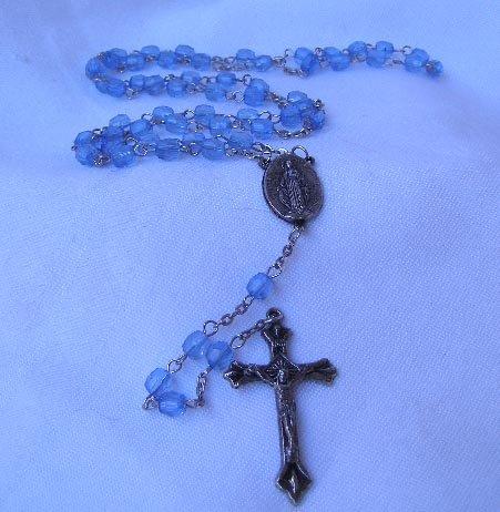 Vintage Blue Plastic Bead Catholic Rosary