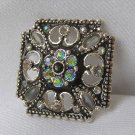 Vinatge Maltese Cross Enameled & AB Rhinestone Brooch
