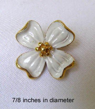 Vintage Crown Trifari Enameled Dogwood Flower Brooch