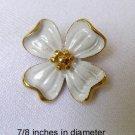Vintage Crown Trifari Enameled Dogwood Flower Brooch