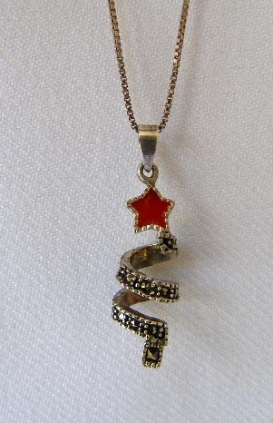 Vintage Sterling Silver Abstract Christmas Tree Pendant