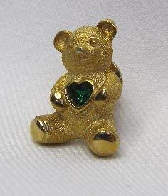 Vintage Avon Bear Pin w/ Emerald Green Rhinestone Heart
