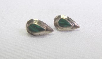 Vintage Sterling Silver Malachite Pierced Earrings