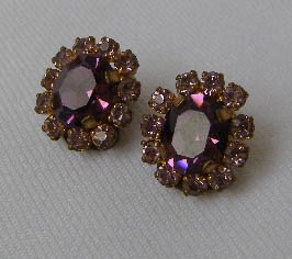 Vintage Purple Amethyst Rhinestone Earrings