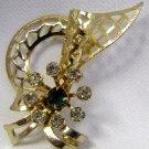 Vintage Crystal & Green Rhinestone Brooch Pin