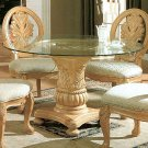 Antique White Glass Top Dining Table