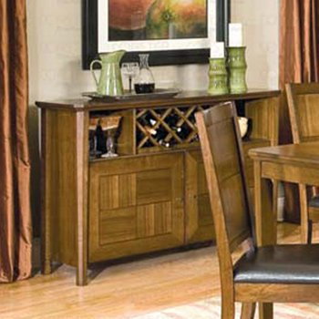 Essex Walnut Finish Collection Server with Wine Rack