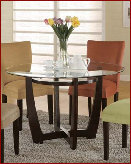 Round Glass Dining Table in Cappuccino