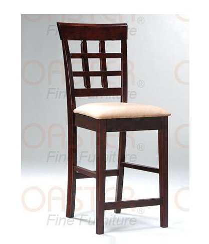 Cappuccino Oval Counter Height  Back Barstool - Set of Two