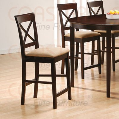 "Rich Cappuccino Oval Counter Height  24"" Cross Back Barstool - Set of Two -100229"