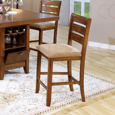 "Mission Oak Counter Height Dinette Collection 24""H Barstool - Set of Two -101019"