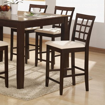 "Cappuccino Finish Counter Height Collection 24""H Barstool - Set of Two - 100899"