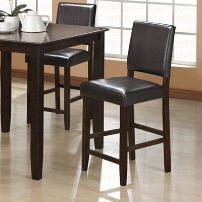"""Cappuccino Finish Counter Height Collection Brown 24""""H Barstool - Set of Two - 101239"""