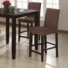 """Cappuccino Finish Counter Height Collection Black 24""""H Barstool - Set of Two - 101240"""