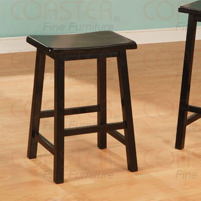 """Black finish Collection 24""""H Barstool - Set of Two - 180089"""