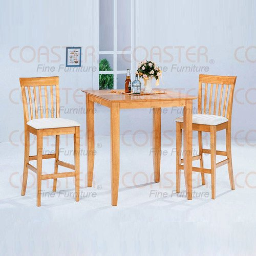 Maple Finish Bar Collection 3-Piece Dining Set