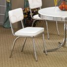 Chrome Plated Collection White Chair -Set of Two - 2450W
