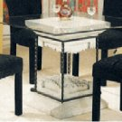 """42"""" Square Glass Top CB42ST Stone dining table."""
