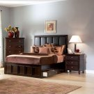 Saxton Eastern King Bed In Dark Cappuccino Finish - Coaster 201521KW