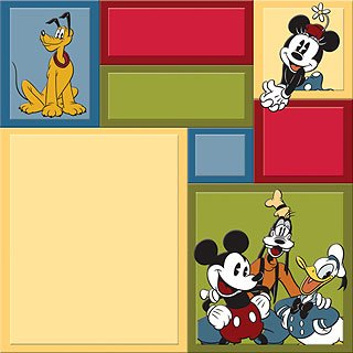 EK Success DISNEY VINTAGE MICKEY MOUSE COLORBLOCK 12 x 12 Paper- 5 Sheets