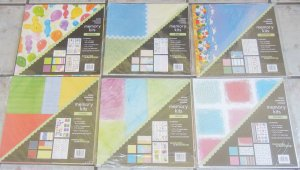 """Lot of 6 NEW  Memories In The Making 12"""" x 12"""" Scrapbook Page Kits"""