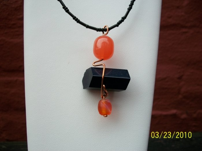 vintage button pendant-orange-y