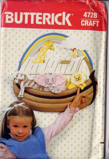 Vintage Butterick Noah's Ark Quilted Wall Hanging Pattern UNCUT 4728