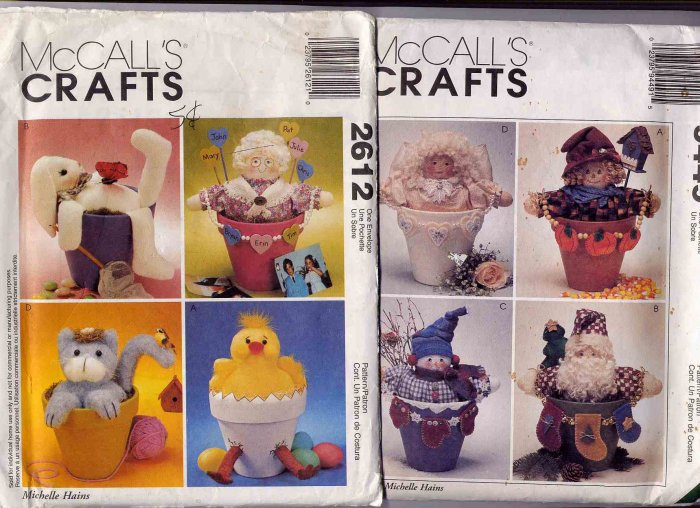 Pair of McCall's Flower Pot People and Pals Patterns UNCUT 2612, 9449