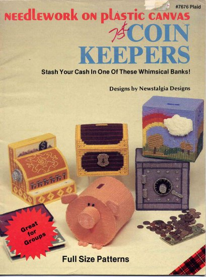 49 Cent SALE! Vintage Plastic Canvas Coin Keepers Banks Patterns Booklet