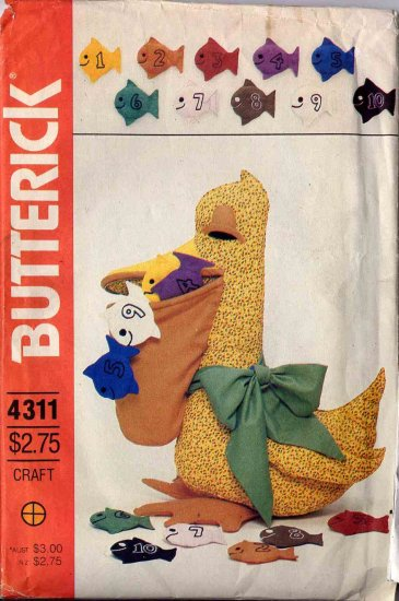 49 Cent SALE! Vintage Butterick Stuffed Pelican Counting Teaching Toy Pattern UNCUT 4311
