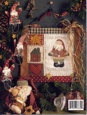 Primitive Santa And Teddy Bear Doll Ornaments And Wall