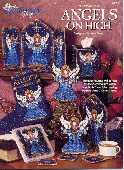 Angels On High Plastic Canvas Pattern Book Triptych Tissue