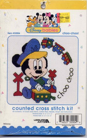 Mickey Mouse Choo Choo Cross Stitch Kit Disney Babies 4.5 x 4.5